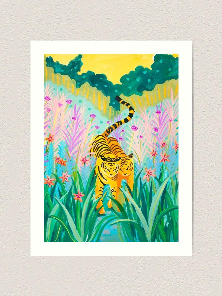Alternate view of Tigers in Garden Art Print