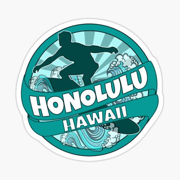 Honolulu Hawaii teal surfer logo Sticker