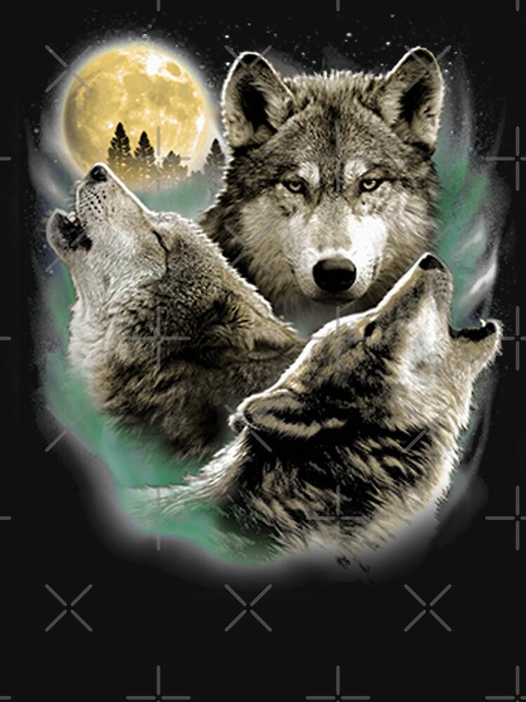 Three Wolves Howling in Moonlight by kleynard