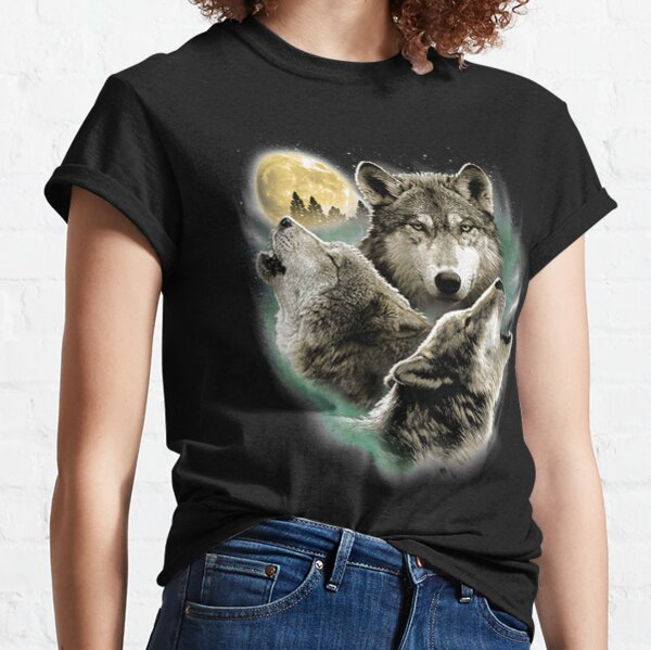 Three Wolves Howling in Moonlight Classic T-Shirt