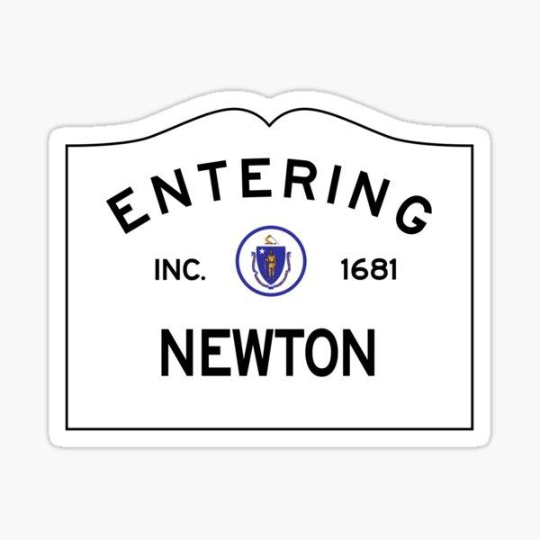 Entering Newton Massachusetts - Commonwealth of Massachusetts Road Sign Sticker