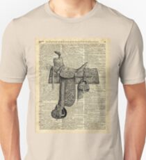 Vintage Horseriding Saddle, Dictionary Art, Antique Item Unisex T-Shirt