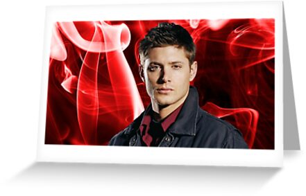 Dean Winchester Jensen Ackles Red Smoke Greeting Cards By