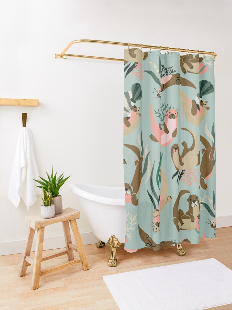 Alternate view of Otter Collection - Mint Palette Shower Curtain