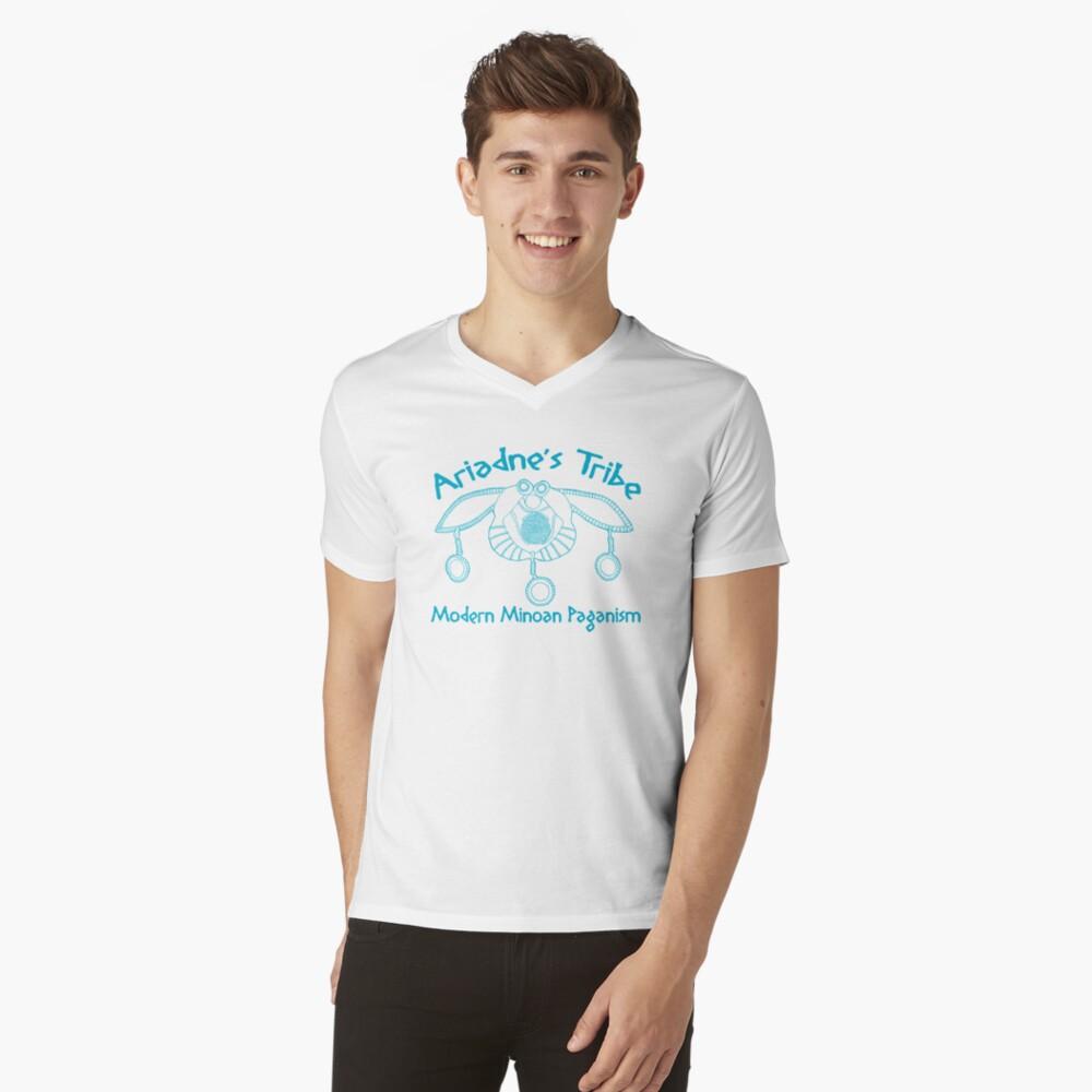 Modern Minoan Paganism Official Logo in Aegean Blue V-Neck T-Shirt