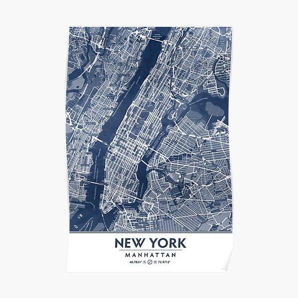 Classic Blue Manhattan Map, New York City Poster