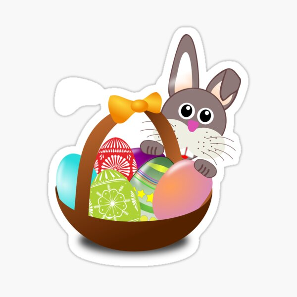 Easter Bunny Eggs Basket Sticker