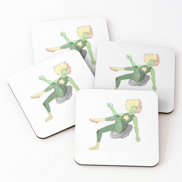 Green Gemstone Girl Coasters (Set of 4)
