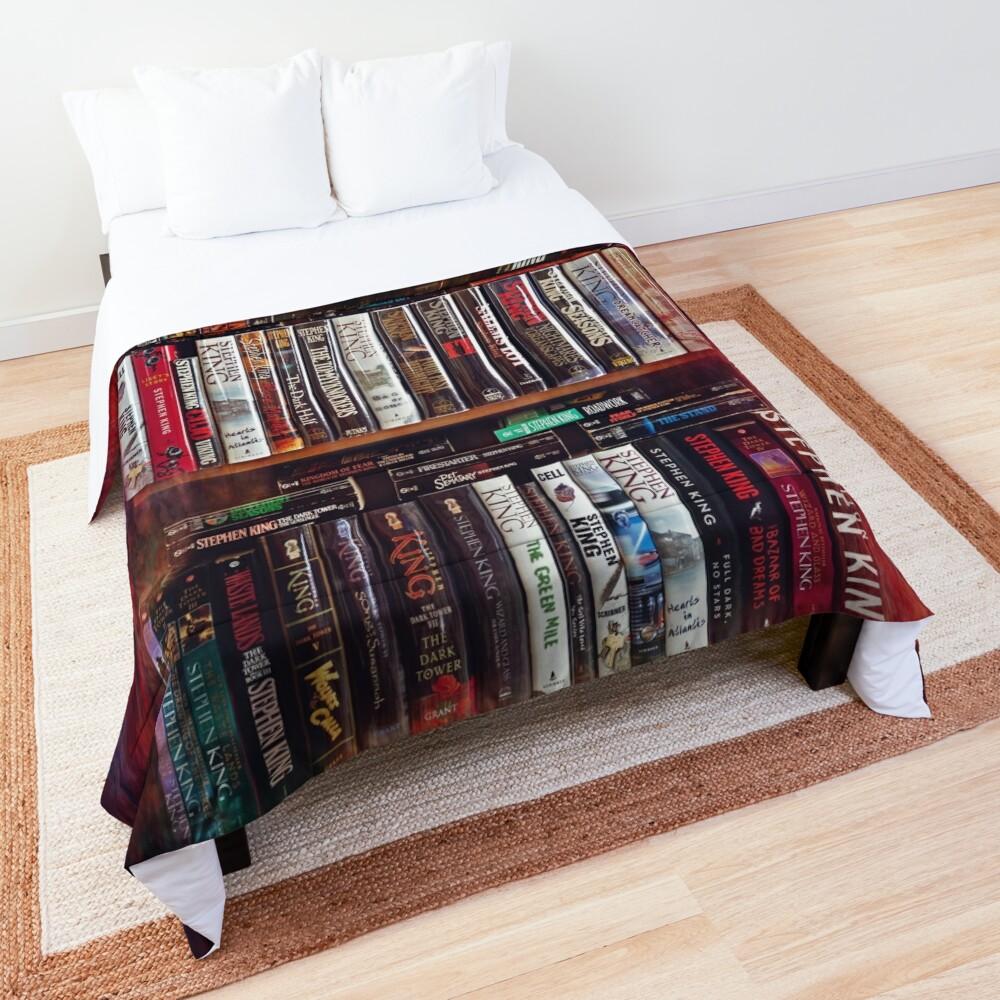 Stephen King Books on Shelves Comforter