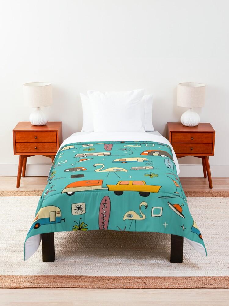 Alternate view of Vintage Kitsch Blue #midcentury  Comforter