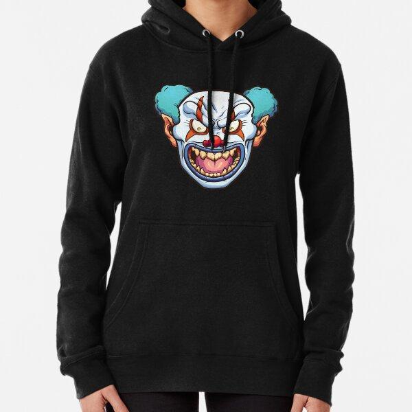 Evil Mad Clown Face Sweatshirt Scary Horror Crazy Insane Joker Hoodie Halloween