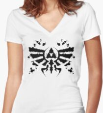 Hyrule Rorschach Women's Fitted V-Neck T-Shirt