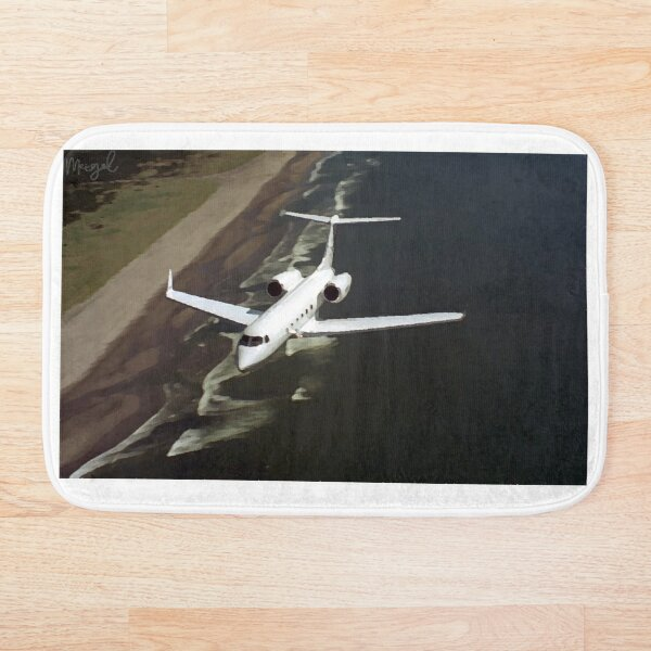Private Jet Airplane Flying Over Ocean Bath Mat