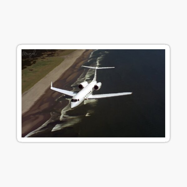 Private Jet Airplane Flying Over Ocean Sticker
