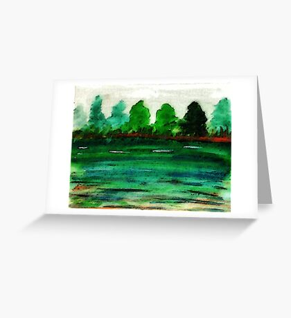 The lake is drying up, watercolor Greeting Card