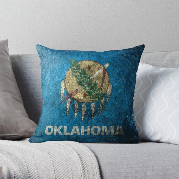 Oklahoma Grunge Throw Pillow