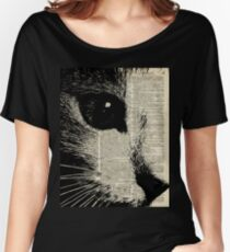 Cute Cat,Lovely Kitten Stencil Over Old Book Page Women's Relaxed Fit T-Shirt