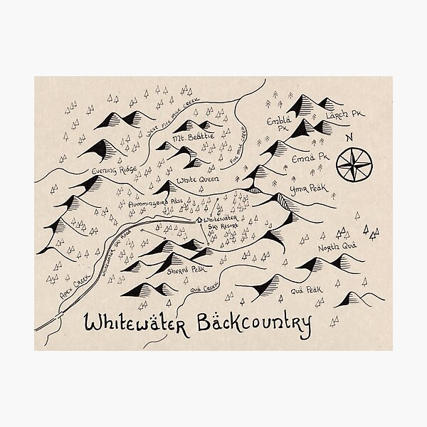 Whitewater Backcountry Map Photographic Print