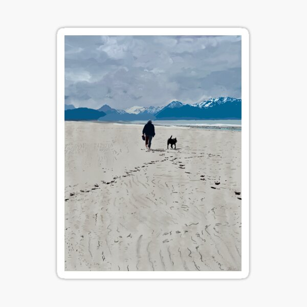 A Man and his Dog in Homer Sticker