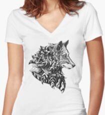 Wolf Profile Women's Fitted V-Neck T-Shirt