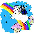 Viking Bunny Riding A Unicorn (Leaping Over A Cupcake) by KaliBlack