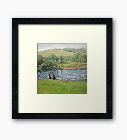 By the weir Framed Print