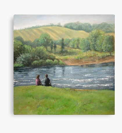 By the weir Canvas Print