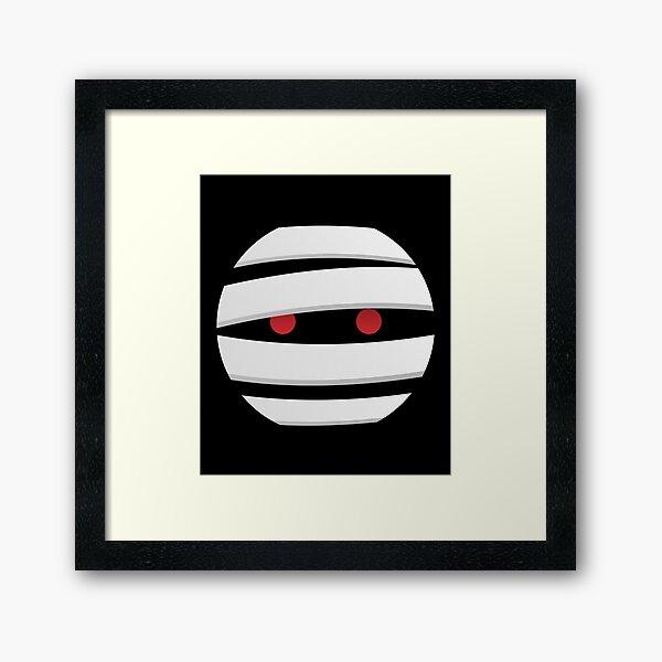Mummy Face Emoji Halloween Mummy Framed Art Print