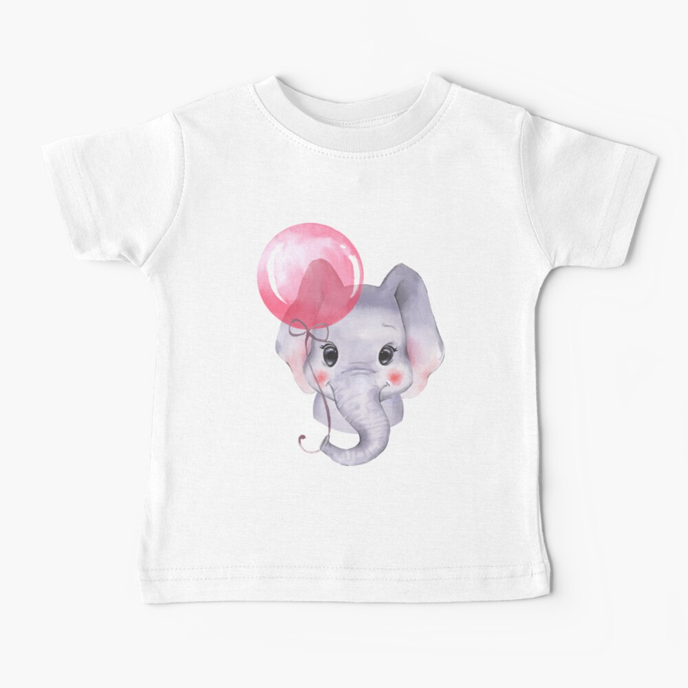 Cute elephant with a pink balloon Baby T-Shirt