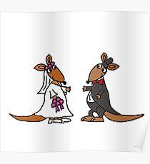 Awesome Bride and Groom Kangaroo Art Original Poster