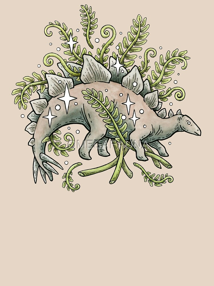 Stegosaurus & Ferns | Dinosaur Botanical Art by OMEGAFAUNA
