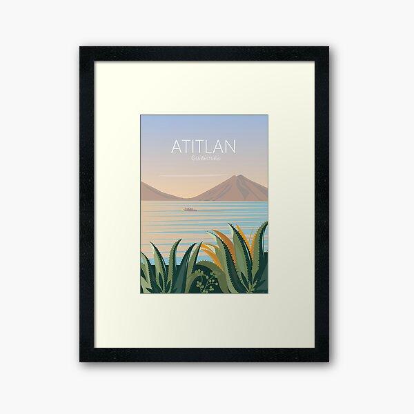 Guatemala vintage travel poster lake atitlan  Framed Art Print