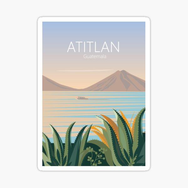 Cartel de viaje vintage de guatemala lago atitlán Pegatina