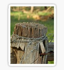 Fence Post with barb wire Sticker