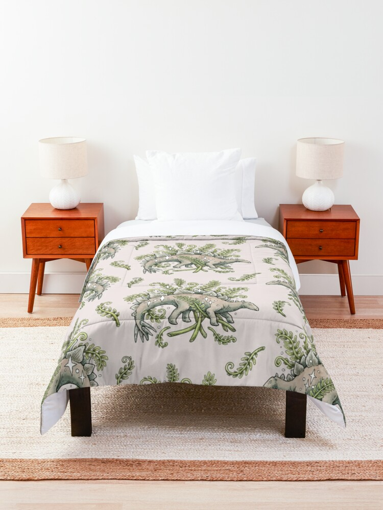 Alternate view of Stegosaurus & Ferns   Dinosaur Botanical Art Comforter