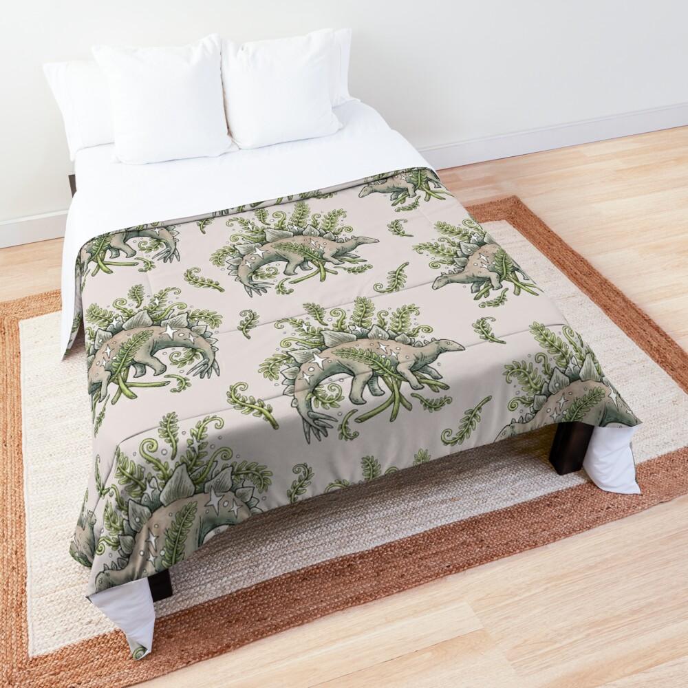 Stegosaurus & Ferns   Dinosaur Botanical Art Comforter