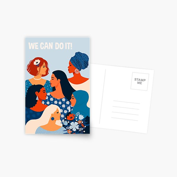 We can do it, women together in feminism Postcard