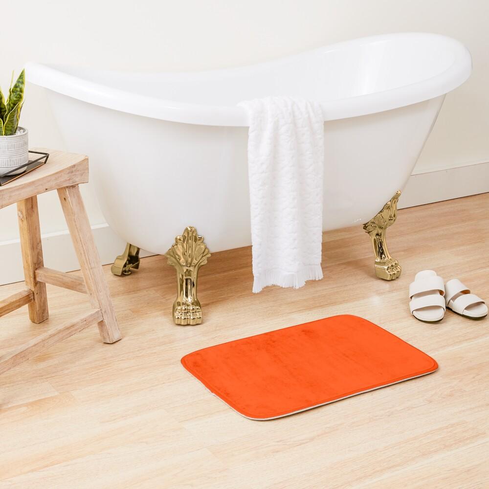 PLAIN ORANGE RED | SOLID COLOR ORANGE RED -OVER 100 SHADES OF ORANGE ON OZCUSHIONS Bath Mat