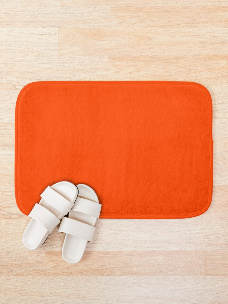 Alternate view of PLAIN ORANGE RED | SOLID COLOR ORANGE RED -OVER 100 SHADES OF ORANGE ON OZCUSHIONS Bath Mat