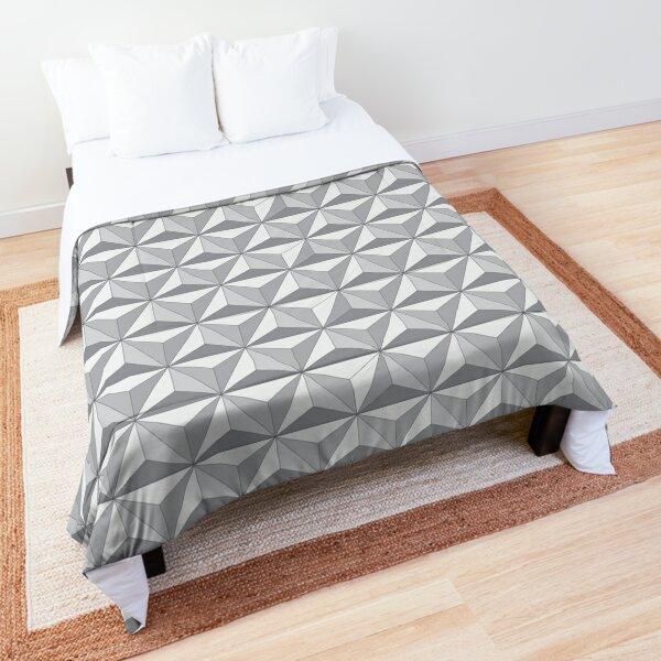 Geodesic Sphere, Greyscale - Dark Comforter