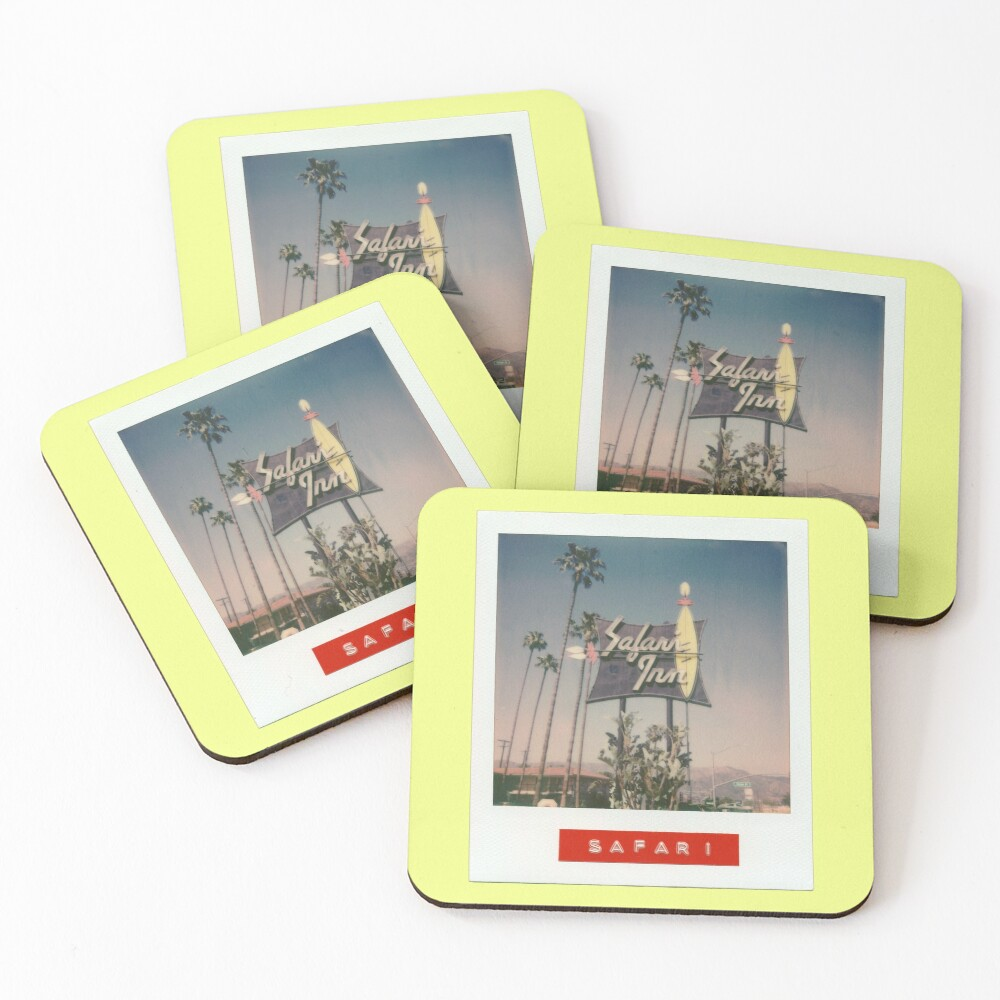 Safari Inn Neon Sign - Original Polaroid Coasters (Set of 4)