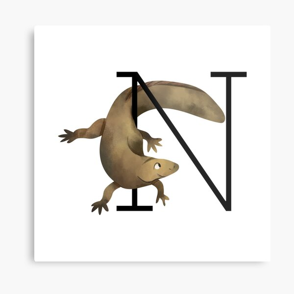 N as newt (animal alphabet) Metal Print
