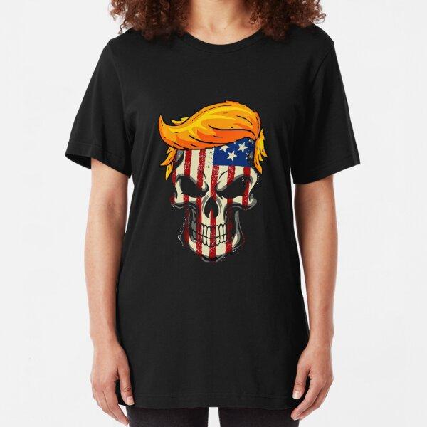 Trump Hair Skull 2020 American flag 4 th July Gift Slim Fit T-Shirt
