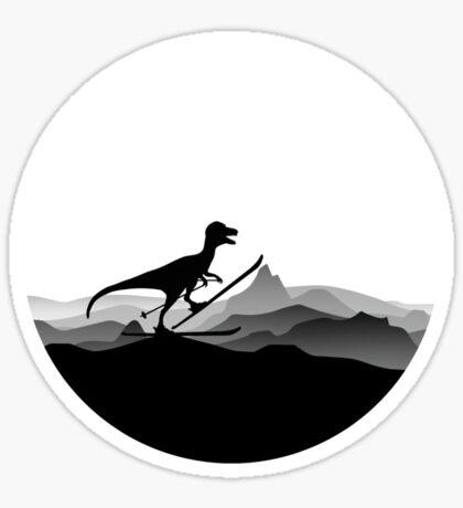 DINO ON SKI - Skiing Dinosaur - Dino Collection Sticker