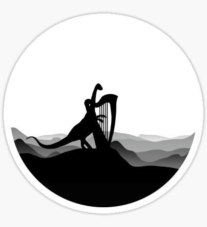 DINO MUSICIAN - Dinosaur with Harp - Dino Collection Sticker