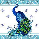 Blue Peacock Swirls by EverIris