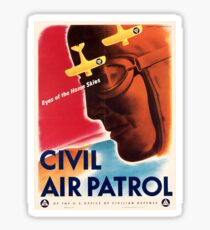 Civil Air Patrol ~ Vintage World War 2 WWII Poster ~ Air Force Pilot ~ 0536 Sticker