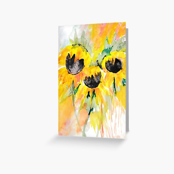 Bright yellow sunflowers. Greeting Card