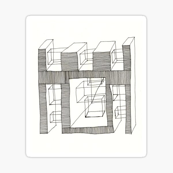 Construct Art Line Drawing 203 Sticker