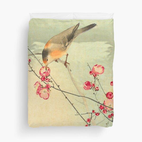 Songbird on Blossom Branch Duvet Cover